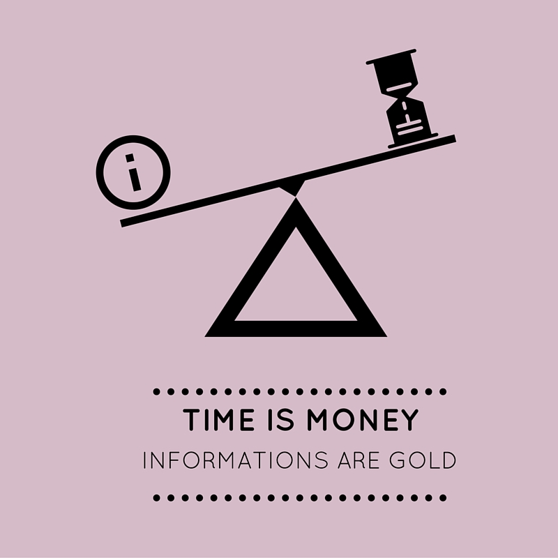 Time is money, imformation are Gold
