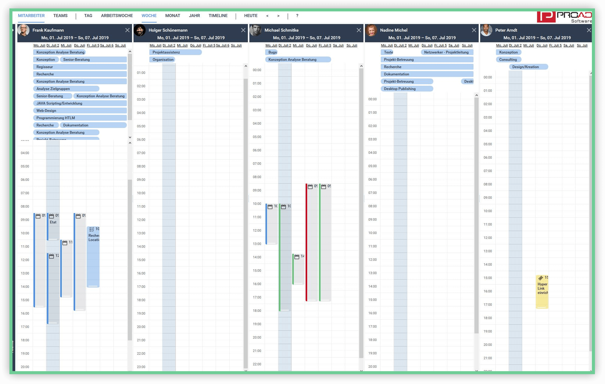 Screenshot PROAD Consulting Software Teamkalender