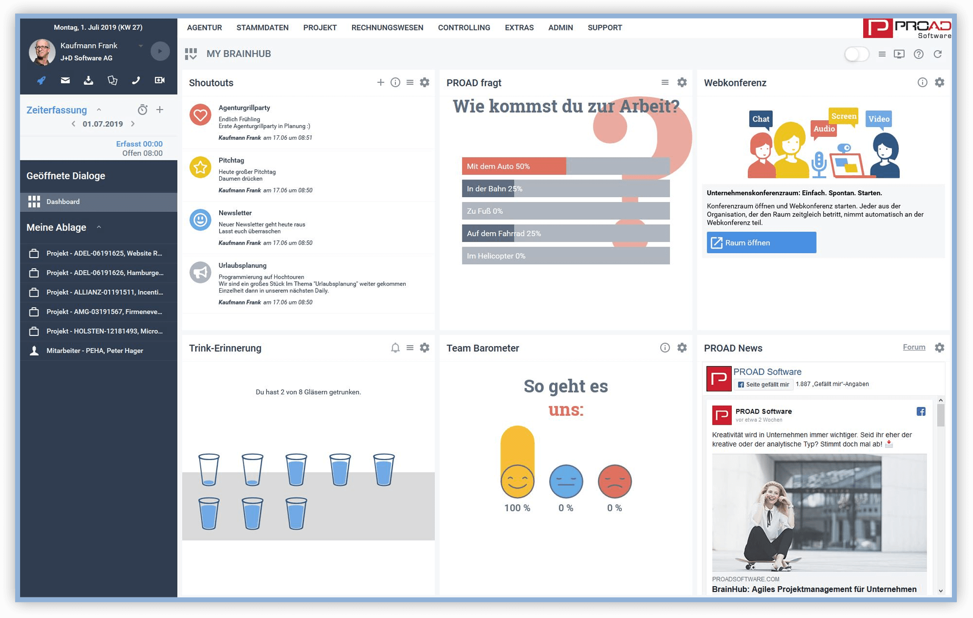 Screenshot PROAD Agentursoftware Dashboard BrainHub