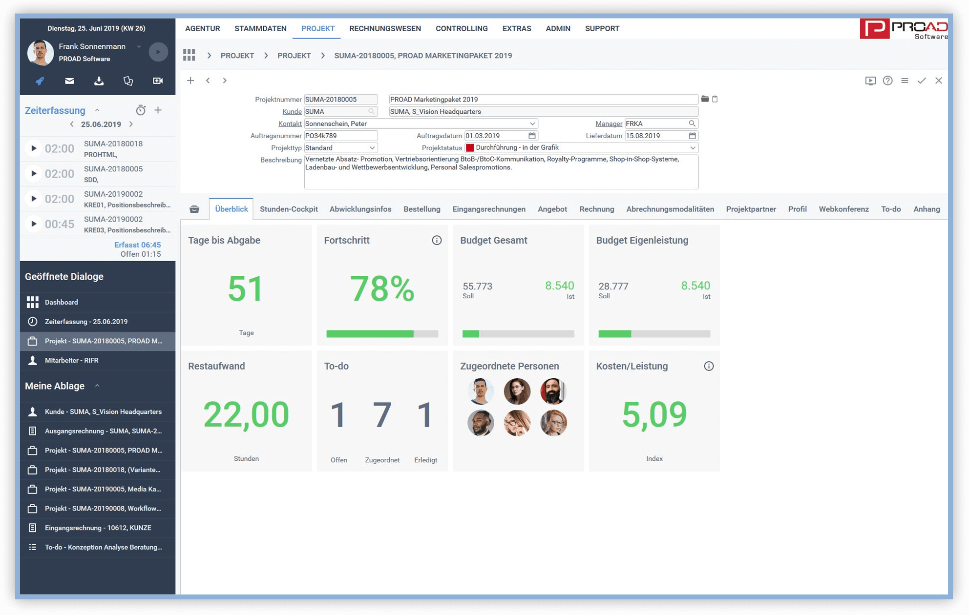 Screenshot PROAD Agentursoftware Dashboard Projektüberblick