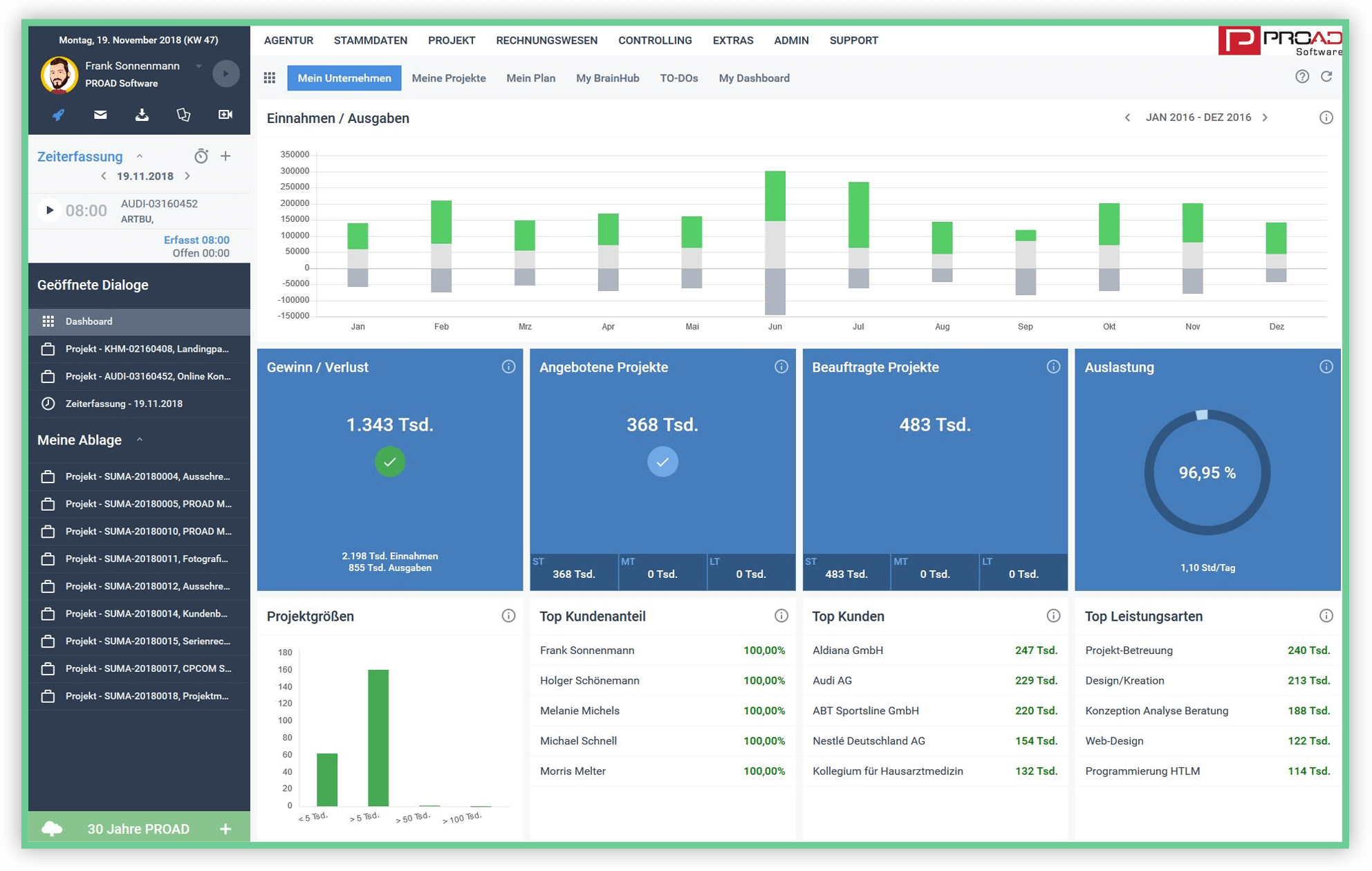 Screenshot PROAD IT Unternehmenssoftware Management Dashboard